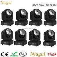 8pcs/lot 60W RGBW 4in1 LED Beam Light DMX512 LED Display Moving Head Light Professional DJ/Bar /Party/Show/Stage Lights LED Wash