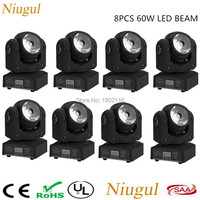 8pcs Lot 60w RGBW 4in1 Led Beam Light DMX512 LED Display Moving Head Light Professional DJ