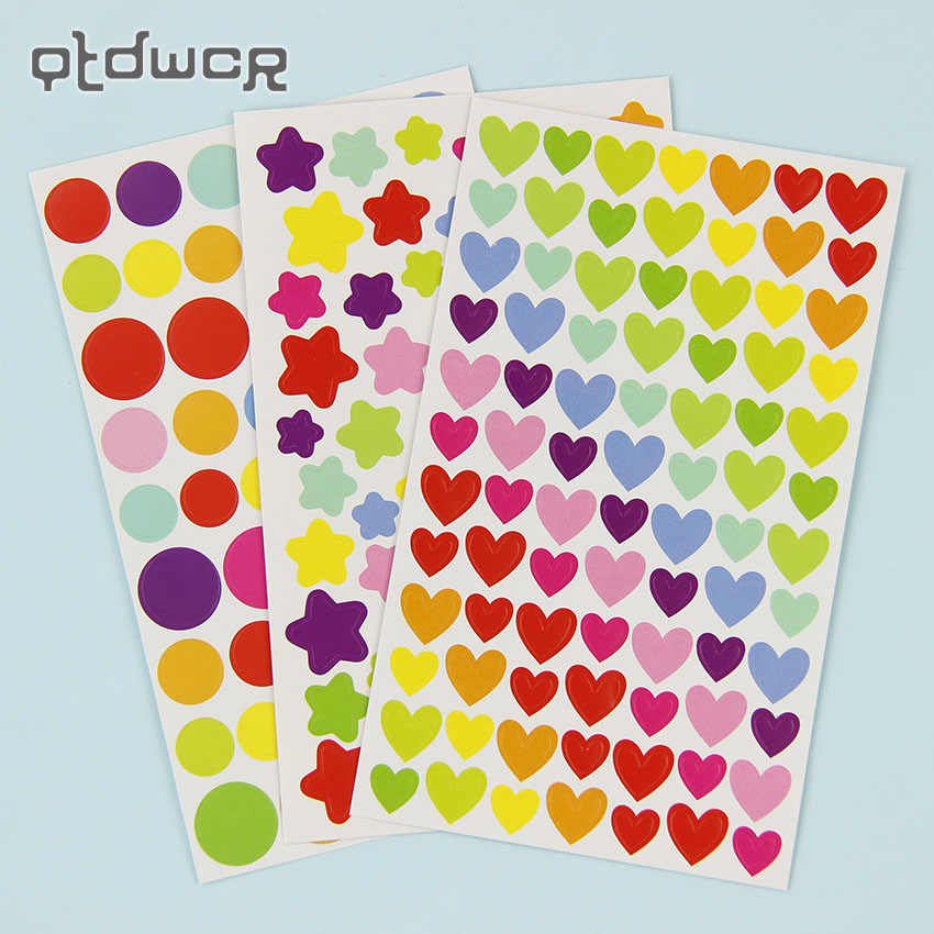 6 Sheets/Set Colorful Cute Love Heart Dot Five Pointed Star Decoration Scrapbooking Paper Stickers Stationery