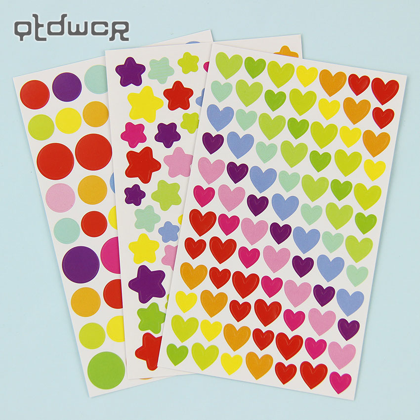 12 Sheets/2Sets Colorful Cute Love Heart Dot Five Pointed Star Decoration Scrapbooking Paper Stickers Stationery Post It