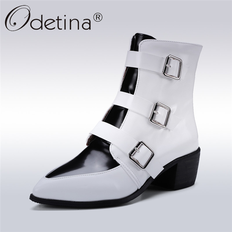 Odetina 2017 Fashion Women Punk Style Buckles Ankle Boots Block Chunky Heel Pointed Toe Booties Autumn Winter Shoes Big Size 48 nikbea vintage western boots cowboy ankle boots for women pointed toe boots winter 2016 autumn shoes pu chunky low heel booties