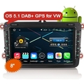 "Erisin ES4842V 8"" Android 5.1 Quad Core Car GPS NAV DAB+ For VW Golf Tiguan Jetta Seat"
