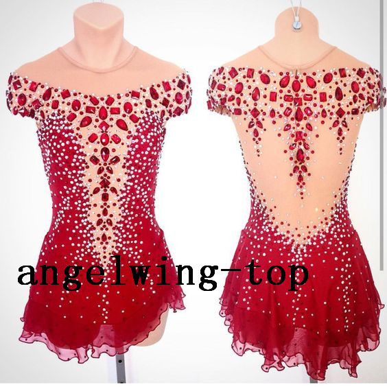 red figure skating dresses expensive ice figure skating competition dress custom ice skating dress free shipping