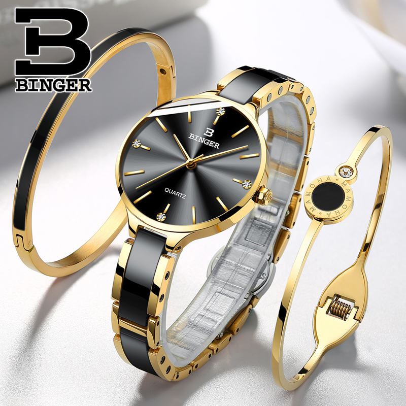 Suisse BINGER luxe femmes montre marque cristal mode Bracelet montres dames femmes montres-bracelets Relogio Feminino B-11852