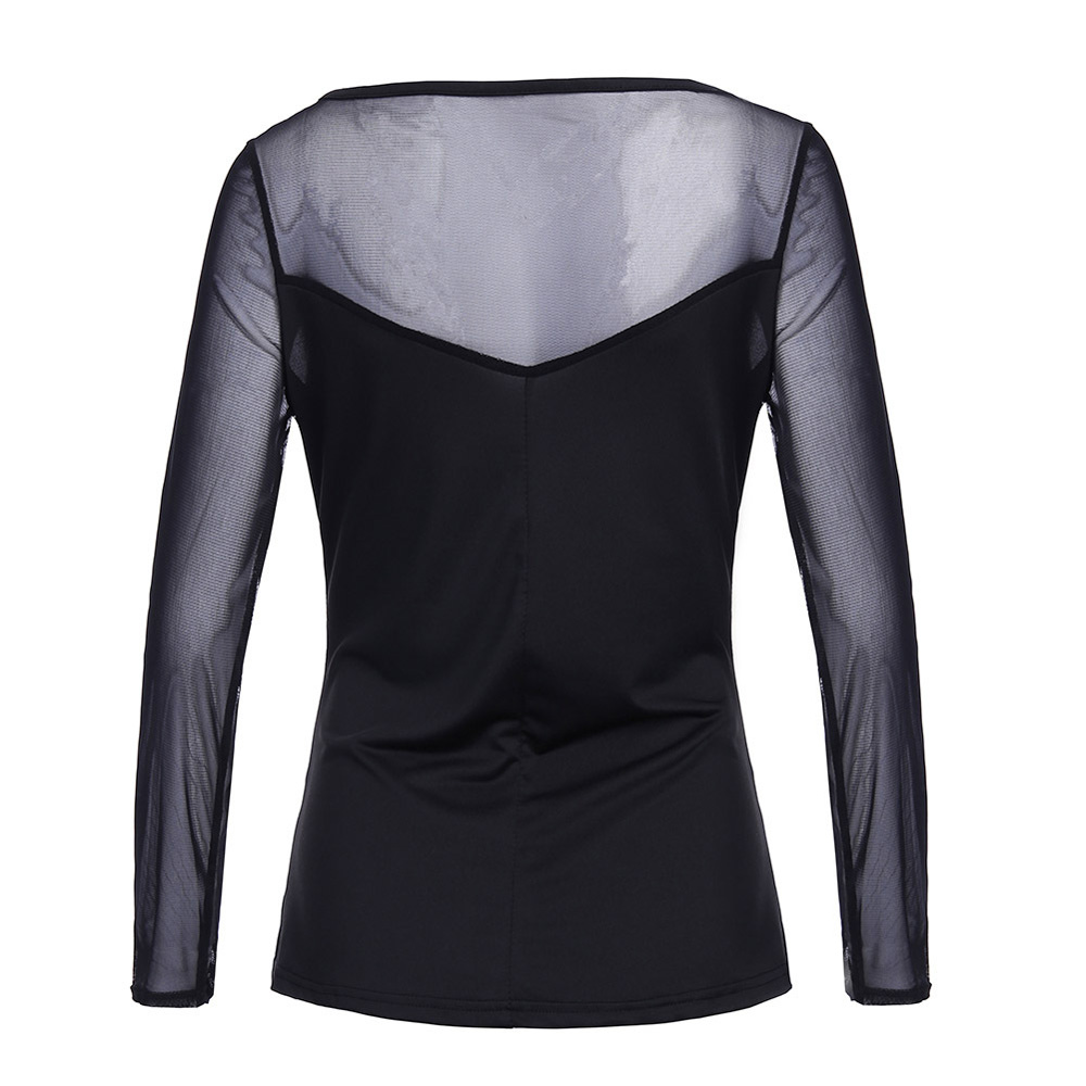 New fashion Women Long Sleeve Low Cut Splice Slim Stretchy t shirt sexy Clubwear Shirt Tops plus size m-2XL BLUSAS