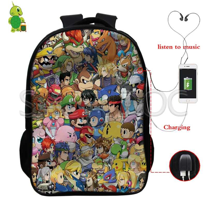 a47fd65e60a0 Super Smash Bros Mario Pikachu Collages Backpack Multifunction USB Charging Laptop  Backpack for Teenagers Large School