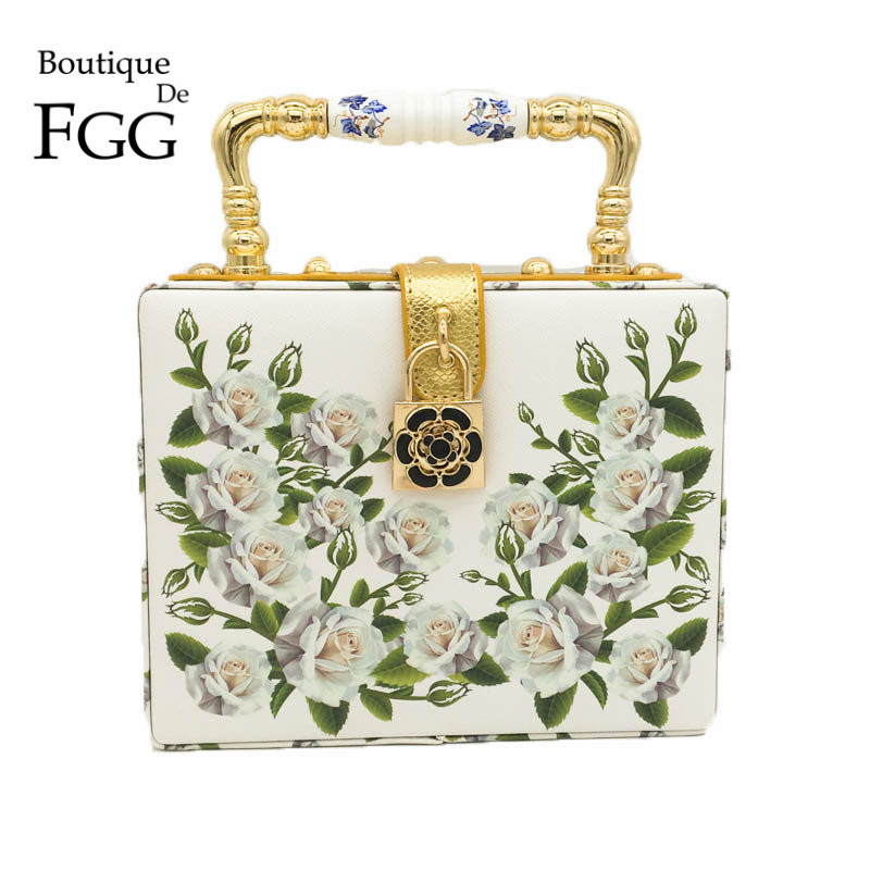 White Rose Flower Women Fashion Handbags Shoulder Totes Box Clutch Bags Ladies Casual Business Party Crossbody Clutches Bag velour pu embroidery flower beaded fashion women shoulder handbags messenger crossbody bags evening totes bag box clutch purse