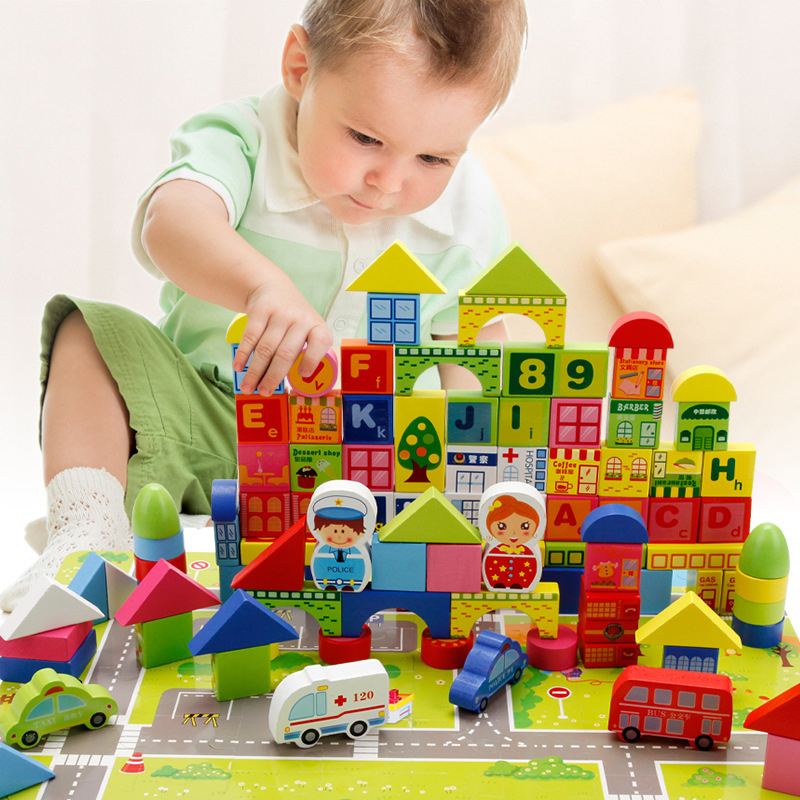 160pcs Barrel Baby Educational wooden toys DIY colorful City Traffic Building Blocks toy Gifts