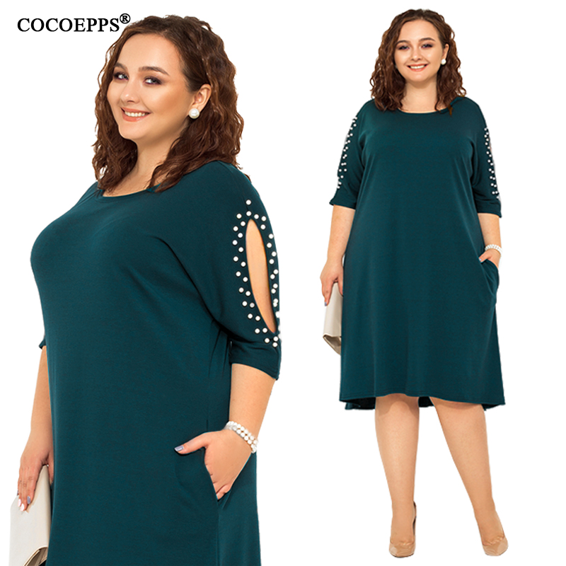 5XL 6XL 2019 <font><b>Big</b></font> <font><b>Size</b></font> Women Loose <font><b>Dress</b></font> Spring Plus <font><b>Size</b></font> Summer Casual <font><b>Dress</b></font> <font><b>Sexy</b></font> Hollow out Lady Elegant Party Large <font><b>Size</b></font> <font><b>Dress</b></font> image