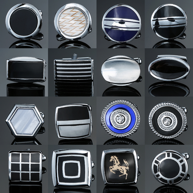 high-end men's French shirt Cufflinks jewelry luxury Alloy material Horse round crystal square black blue Cuff links
