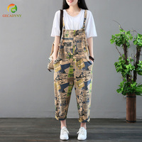 Women Printed Playsuit Loose Sleeveless Adjusted Strap High Waist Cotton Jumpsuits Romper Trousers Pants Ladies Summer Bodysuits