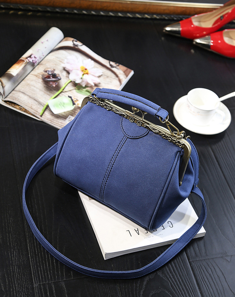 Women PU Leather Purse Retro Fashion Top Handle Handbag Kiss Lock Crossbody Shoulder Bag for Ladies (22)