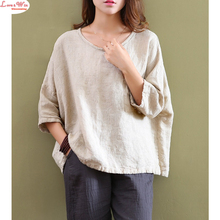 chinese vintage art linen t-shirt dropped shoulder lino tops women batwing sleeve casual shirt