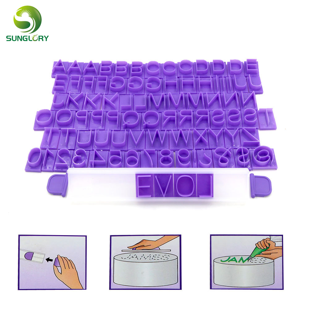 DIY 85PCS Plastic Capital Letters Cookie Cutter Number Message Press Set Alphabet Cookie Mold Symbol Letters Cake Mold Fondant in Cake Molds from Home Garden
