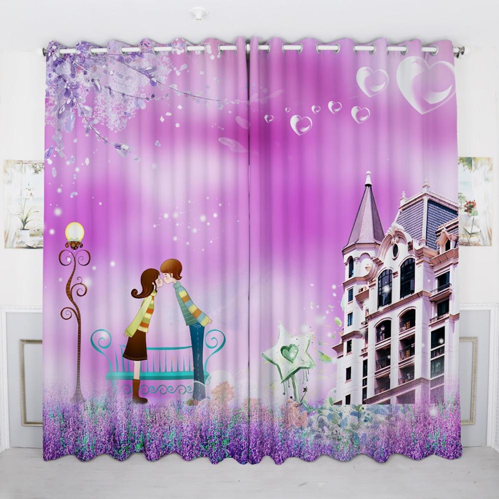 사용자 정의 만든 배 그로밋 창 휘장 커튼 거실 창 드레싱 얇은 명주 그물 200x260 센치 메터 커플 난초 만화 핑크 퍼플