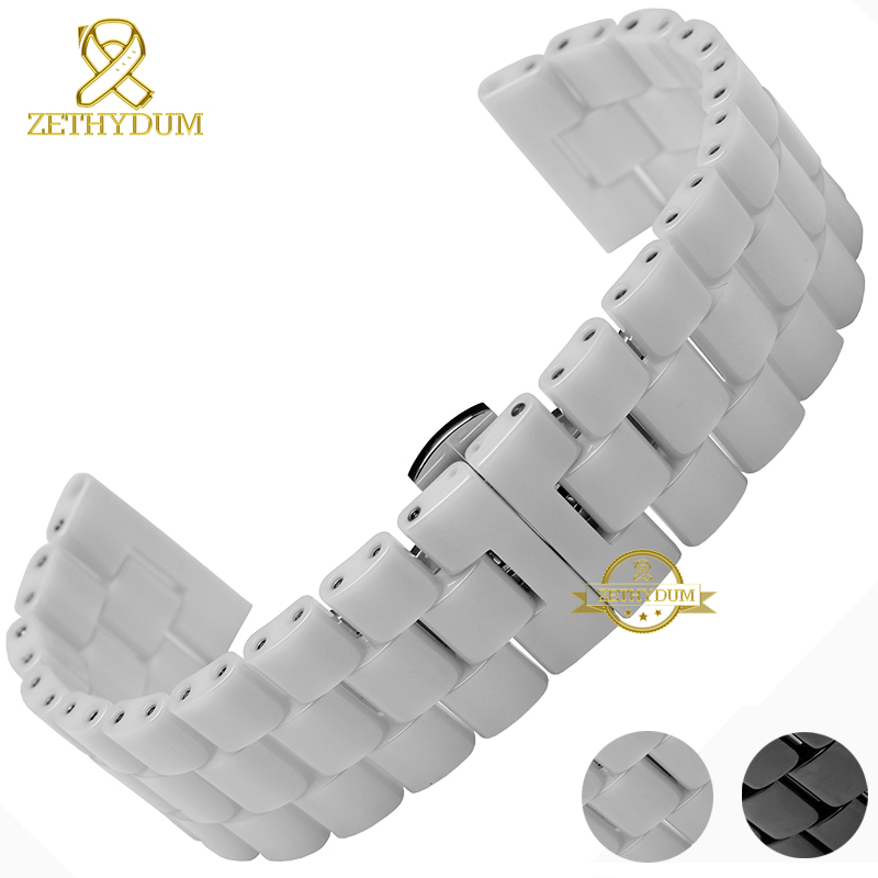 Ceramic watchband watch strap bracelet wristwatches band 22 24mm white black Butterfly buckle watch belt accessories not fade 18mm 20mm 22mm ceramic watch band for citizen butterfly buckle wactchband replacement strap wrist belt bracelet black gold white