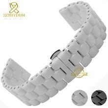 Керамические ремешок для часов ремешок браслет наручные часы группа 24 мм белый черный бабочка пряжка пояса аксессуары-не увядает