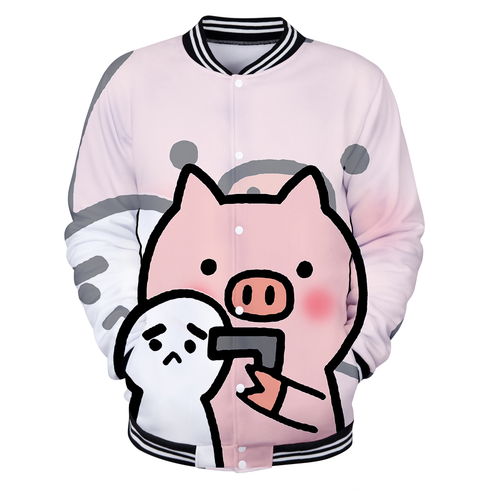 NEW 3D PIG Cute Hot Winter Jacket Men/Women Hip Hop Fashion Jacket Women Fans Baseball Jacket