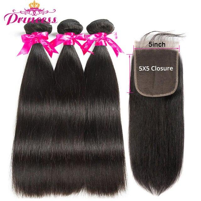 Beautiful Princess Hair Straight Human Hair 3 Bundles With 5x5 Closure Brazilian Hair Weave Bundles Natural Color Remy Hair