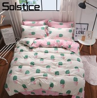 Solstice Home Textile Cactus Beige Duvet Cover Pillowcase Pink Sheet Girl Child Teen Adult Woman Bedding Set King Full Bed Linen