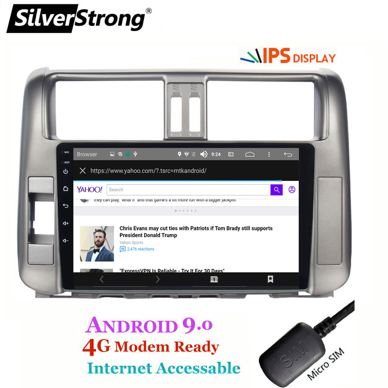 Top SilverStrong IPS 9inch Android9.0 4G modem Car DVD for Toyota Land cruiser Prado 150 LC150 GPS 2010 2011 2012 2013 Radio no DVD 3