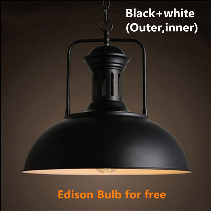 Retro Loft Industrial Indoor Lighting Vintage Pendant Lights E27 Edison Bulb Iron Lampshade Light Fixture Single Hanging Lamps industrial vintage 4pcs e27 edison bulb water pipe pendant lamp rustic retro lustres hanging lighting for bar cafe shop fixture