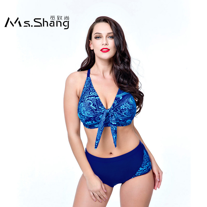 Ms Shang Plus Size Swimwear Female 2017 High Waist Bikinis Women Print Padded Bikini Push Up Swimsuit Red Bikini Set Bottoms 6XL все цены