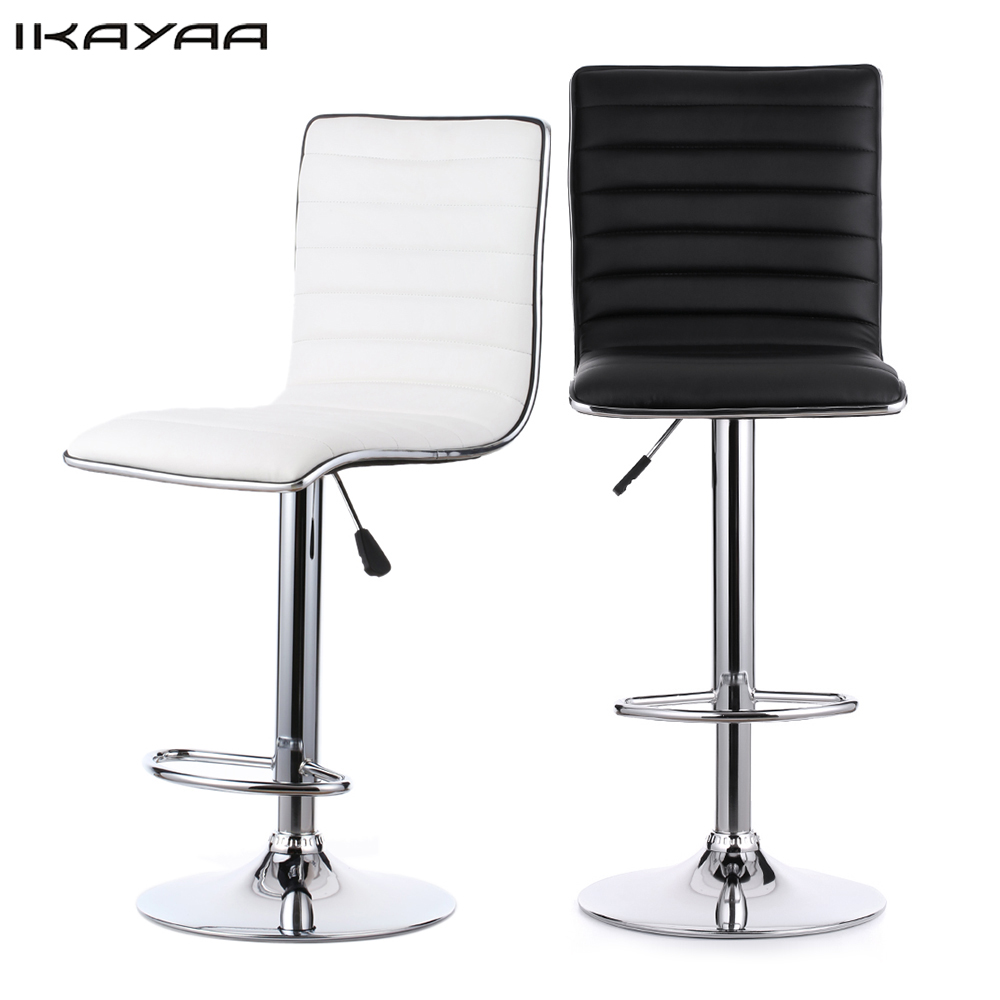 Bar chairs prices - Ikayaa 2pcs Pu Leather Bar Chairs Of 2 Color Pneumatic Swivel Bar Chairs Height Adjustable Kitchen
