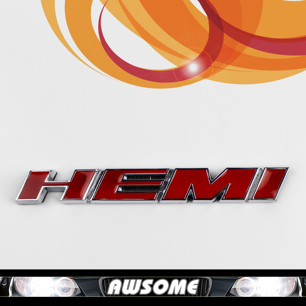 3d red hemi sticker decal fender engine emblem badge for dodge charger challenger sprot racing styling