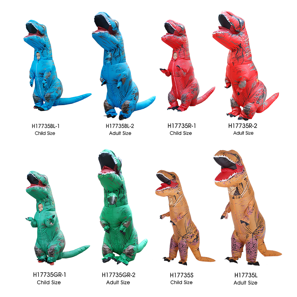 Funny Inflatable Dinosaur Trex Costume Suit Air Fan Operated Blow Up Halloween Cosplay Fancy Dress Animal