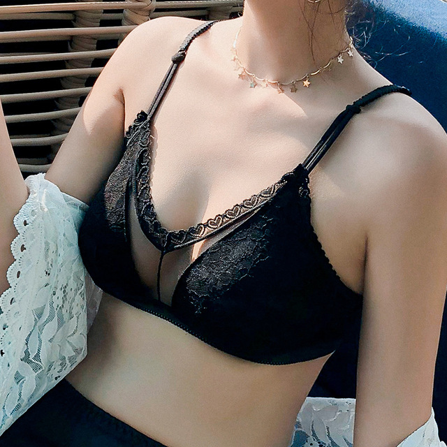 7ae2eb4895e87 Sexy Lace Bras For Women Push Up Bra Seamless Bralette Padded Lingerie  Transparent Cup Brassiere Wire Free Underwear  D