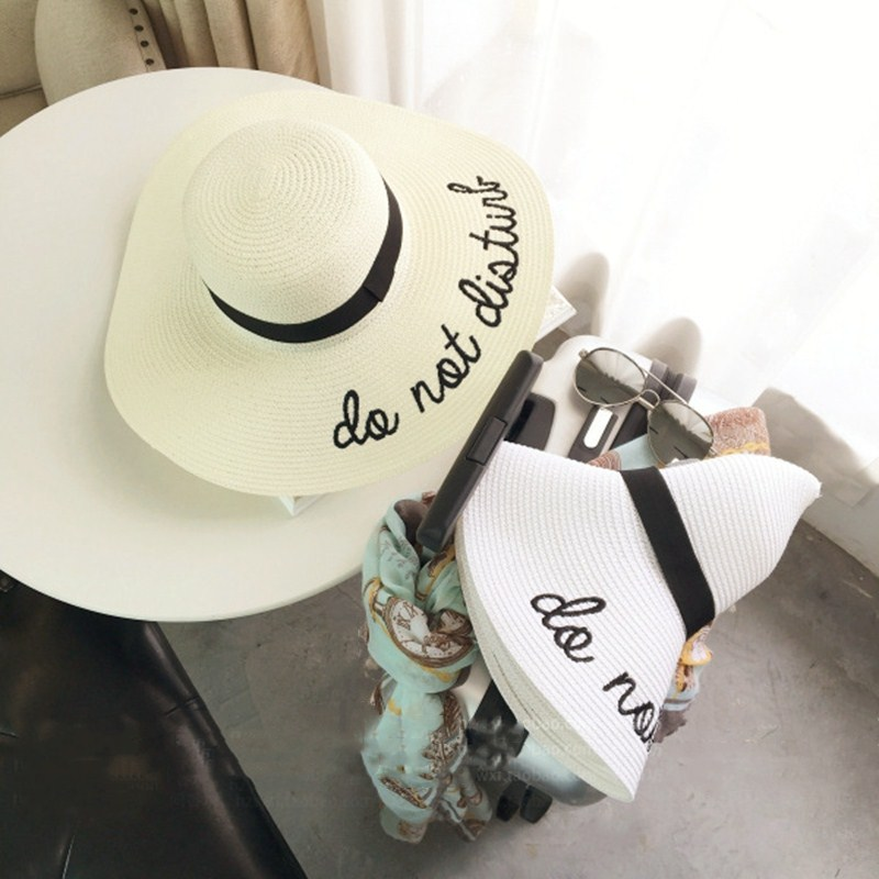 8a33da2bb865a5 2018 Do Not Letter Embroidery Cap Big Brim Ladies Summer Straw Hat Youth  Hats For Women Shade sun hats Beach hat