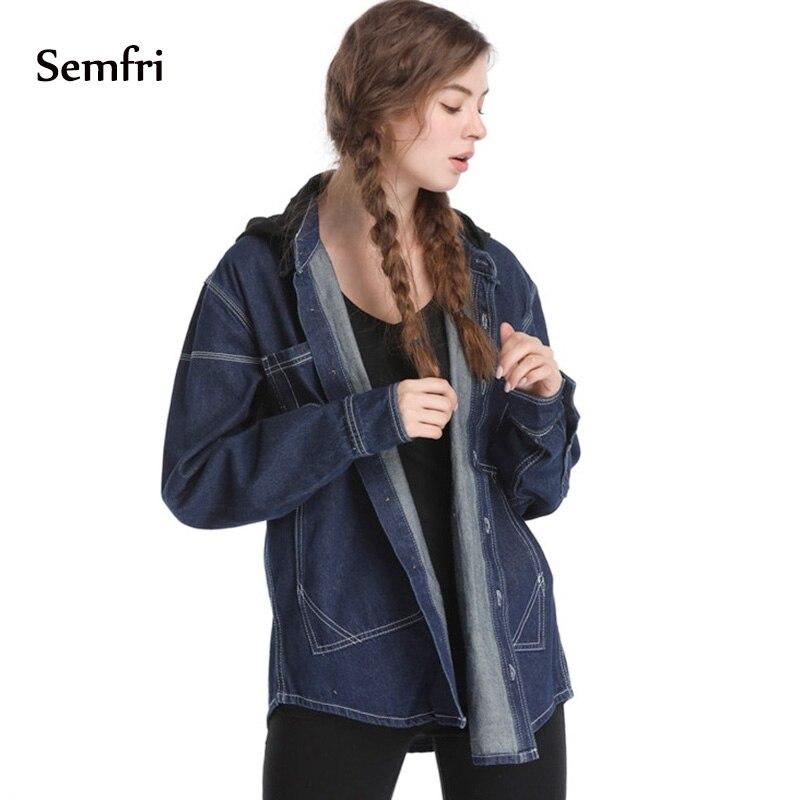 Semfri Jeans Jacket Korean Fashion Clothing 2019 Women's Denim Jacket Casual Basic Top Coat Autumn Outwear Harajuku Windbreaker