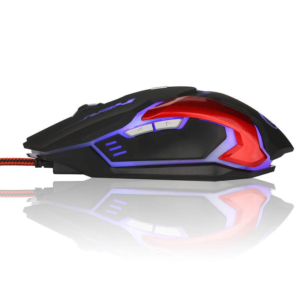 Image 3 - H500 English Mouse Game 3200DPI LED Metal Mechanical Backplane Gaming Mouse USB Wired Glowing Mouse For Computer Laptop-in Mice from Computer & Office