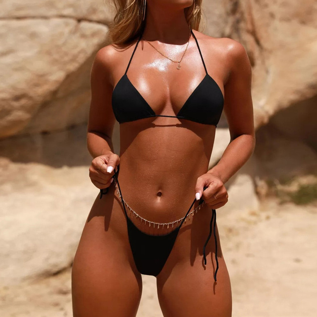 HTB1l2GzafvsK1Rjy0Fiq6zwtXXab Women Sexy Bikinis Bandeau Bandage Bikini Set Push-Up Brazilian Swimwear Beachwear Swimsuit 2019 Mujer Solid Maillot De Bain#15