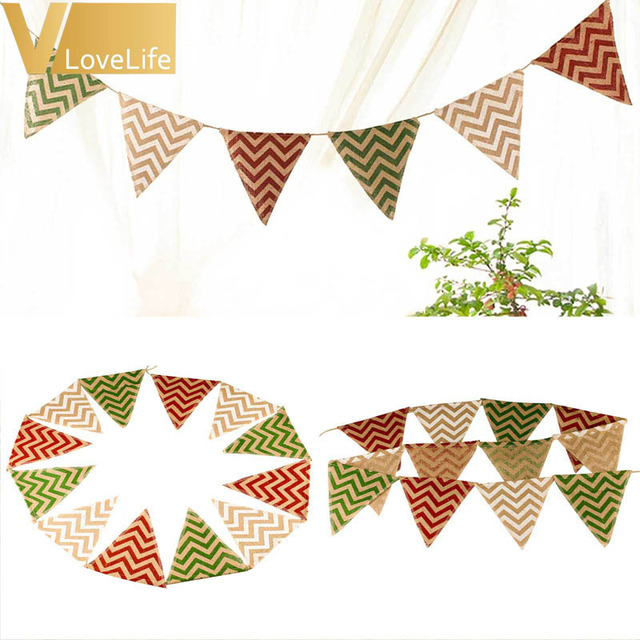 Banners Pennant Burlap Flag Birthday Party Decoration 12 Flags Chevron Mini Natural Hessian Banner Rustic