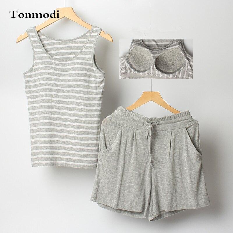 Pajamas For Women Summer Sleeveless Modal Shorts Vest With Chest Pad Women Pajama Plus size Pyjamas