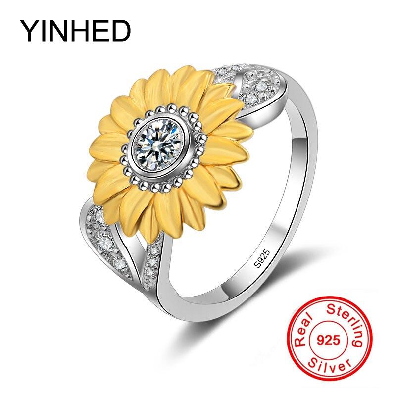 YINHED Unique Sun Flower Finger Ring Solid 925 Sterling ...