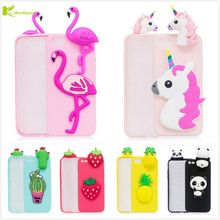 KL-Boutiques 3D Unicorn Cartoon Case For iPhone 6 Plus 6SPlus Fundas Fruits Cactus Flamingo Toys Soft Silicon Phone Cover Capas