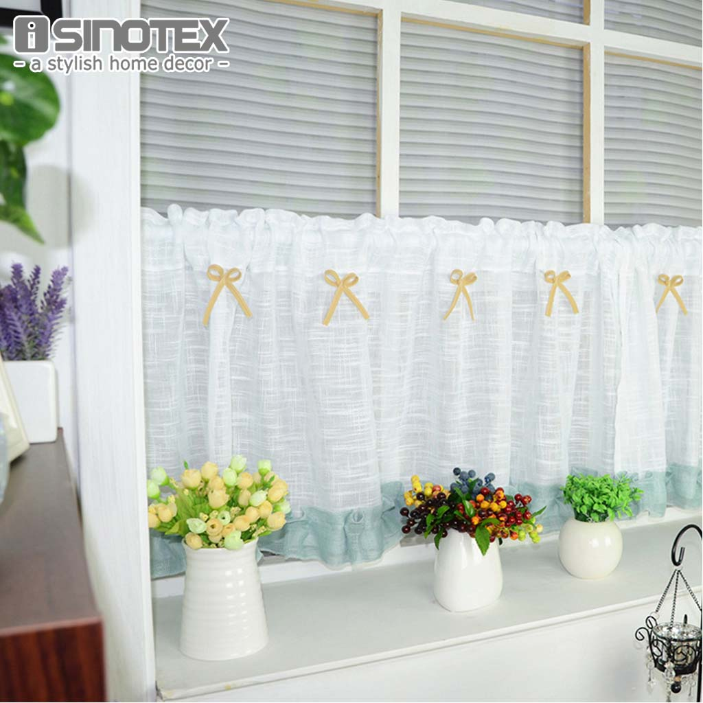 Half-curtain Embroidery Window Valance Customize Light Shading Coffee Panel Drape Curtain for the Kitchen Cabinet 1PCS/Lot