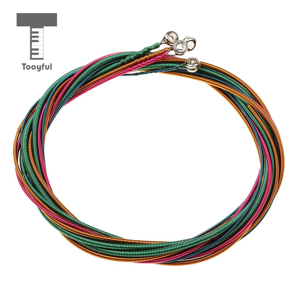 Tooyful Set 4 Pcs Colorful Professional Bass Strings Set G/D/A/E Nickel Alloy for Bass Guitar Replacement Musicians Gift