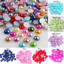 2 3 4 5 6 8 10 12 14 MM Imitation Pearl Round Half Bead Bulk Wholesale Beads For Jewelry Making Women Nail Art DIY Accessories(China)
