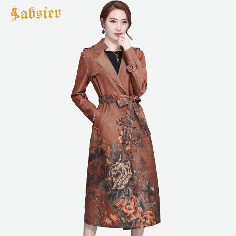 Autumn Winter Women Trench Coat Vintage Suede Long Women Coat Flower Print Belt Female Outerwear Coat Plus Size