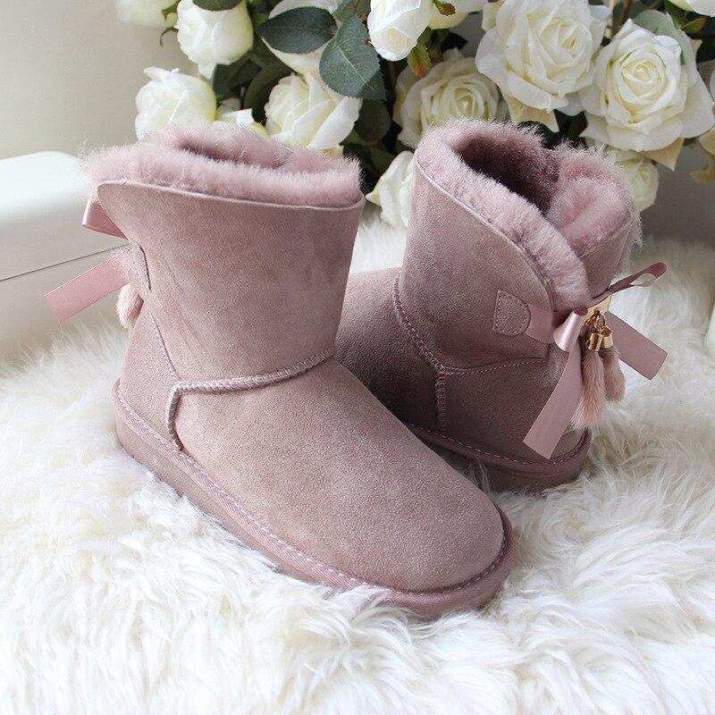 Piel Botas Mujer Mujeres Invierno Menor grey Clásico Genuino Alta Para Nieve brown Mayor purple Zapatos al Australia Calidad pink Natural Oveja Al Pink chestnutting Venta Por De pHq60nvqw