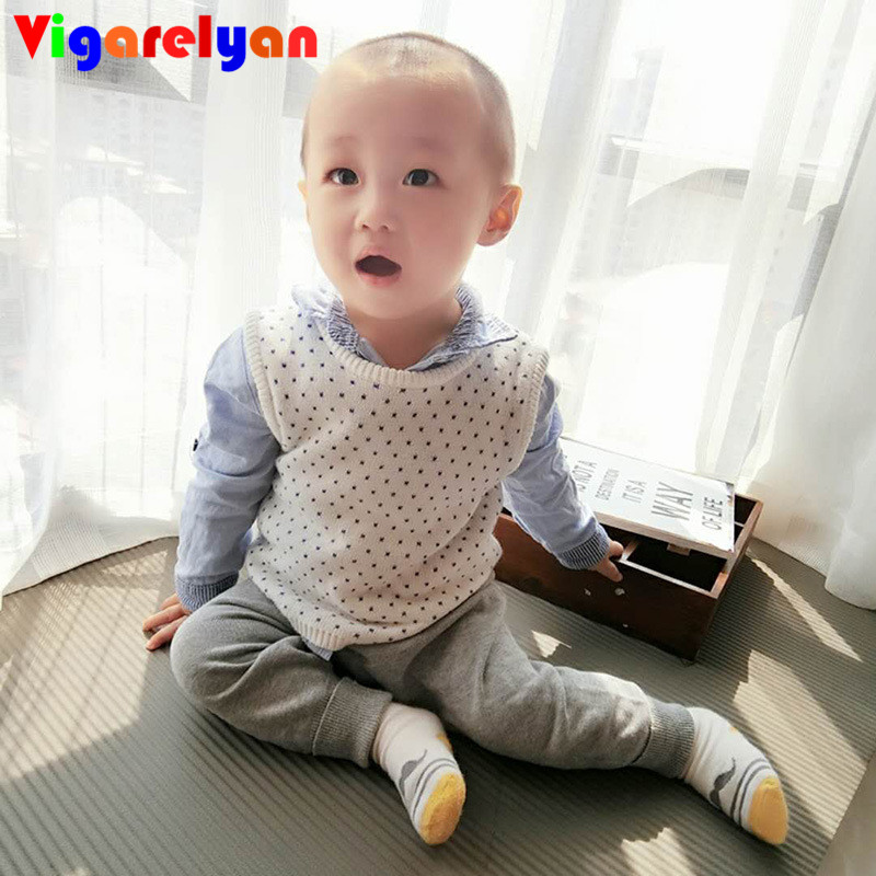 Todders Heart Dot Knitting Vest Seasons Children Cotton Clothes Baby Boys Dot Vest Little Girl Sleeveless Sweater Kids Tops Fall