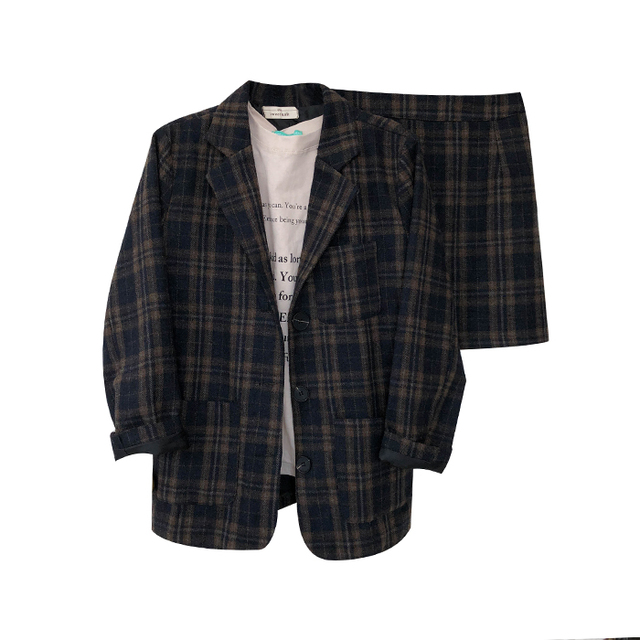 Vintage notched collar plaid Blazer coat+ skirts women