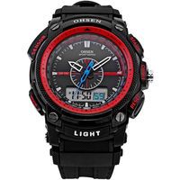OHSEN LCD Analógico Digital Dual Time Data Dia Alarme Backlight Chronograph Rubber Band Red Sports Quartz Relógio de Pulso dos homens/OHS051