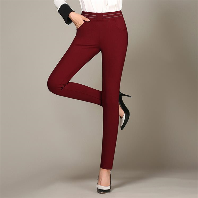 460f649969 Lenshin Plus tamaño Formal ajustable pantalones para mujeres Oficina ...