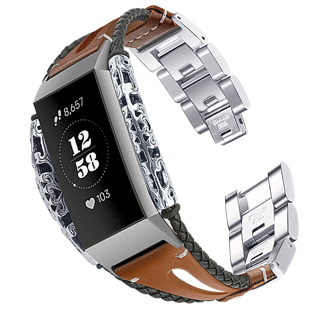 Stainless Steel for Fitbit Charge 3 Band Replacement Leather Strap For Fitbit Charge 3 Band Strap Rose Gold Watchband Band Strap