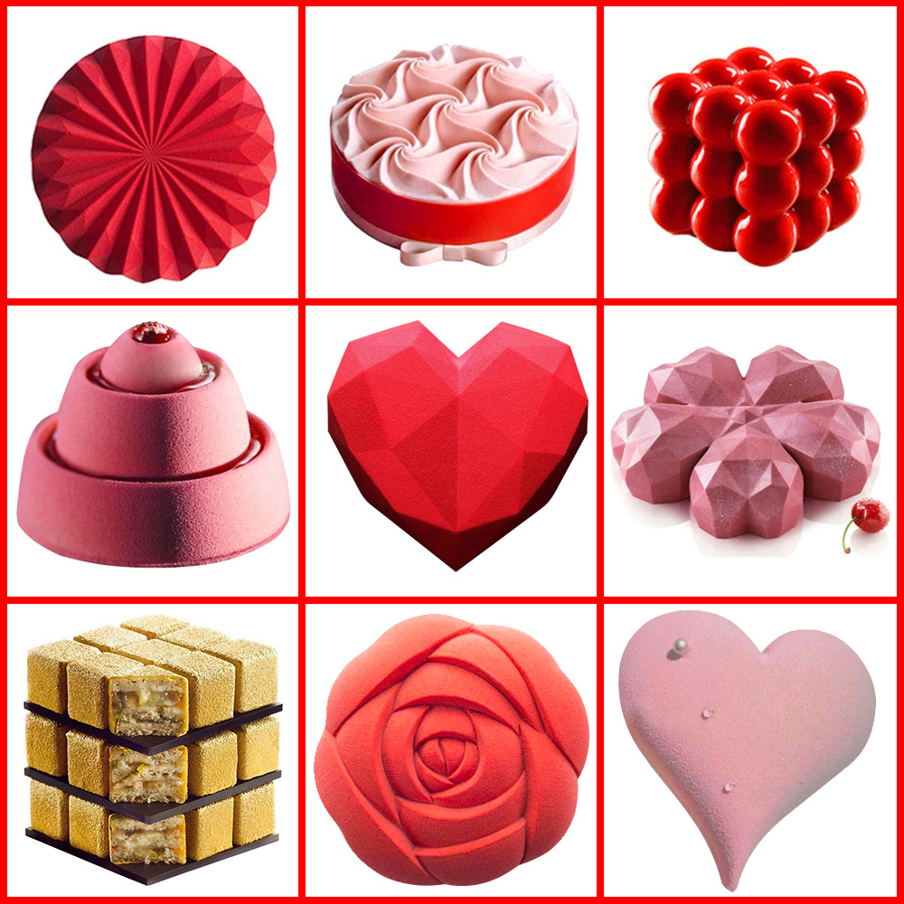 SILIKOLOVE Rose Heart 3D Silicone Molds For DIY Baking